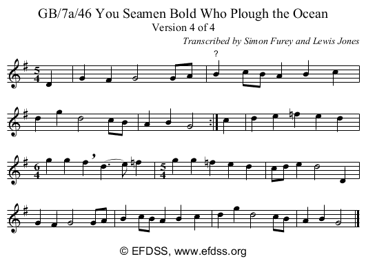 Stave transcription of image number 0 for GB/7a/46