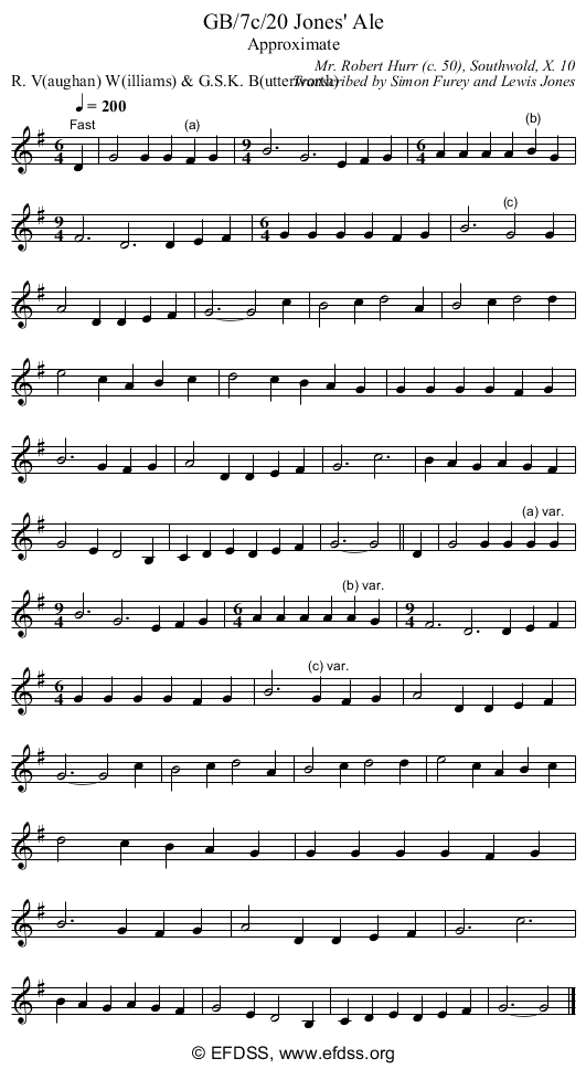 Stave transcription of image number 0 for GB/7c/19