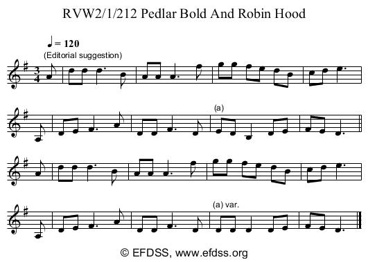 Stave transcription of image number 0 for RVW2/1/212