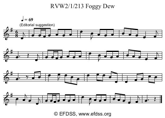 Stave transcription of image number 0 for RVW2/1/213