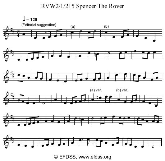 Stave transcription of image number 0 for RVW2/1/215