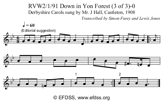 Stave transcription of image number 0 for RVW2/1/91