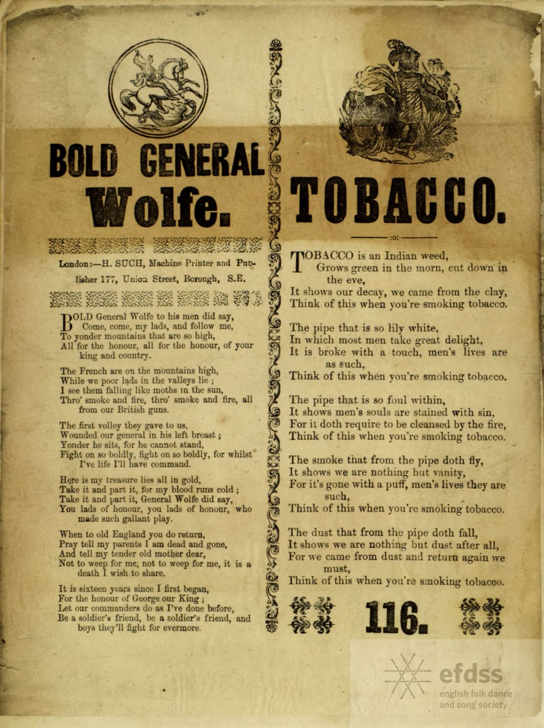 Bold General Wolfe - Such broadside from the Lucy Broadwood collection, via the VWML archive catalogue.