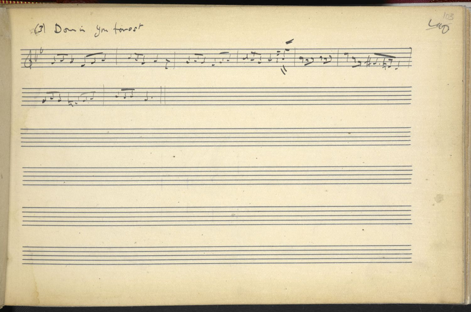 Down In Yon Forest, as noted by Ralph Vaughan Williams, 1908